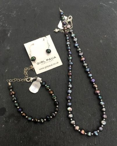 Freshwater Peacock Pearl & Silver Bead Necklace, Bracelet & Earring SET FN03-P